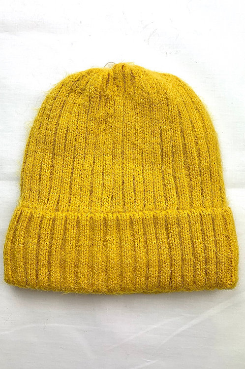Yellow Fluffy Knitted Beanie Hat