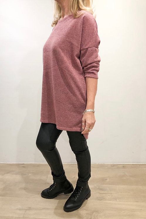 Textured Pink Long Sleeve Tunic