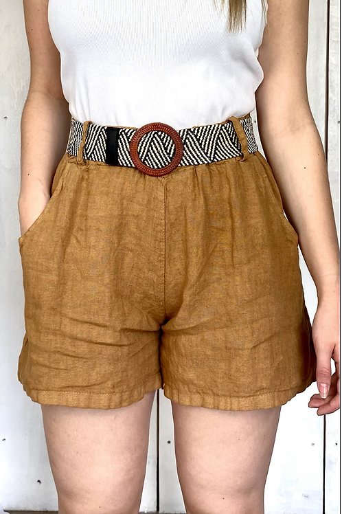 Tan Linen Shorts