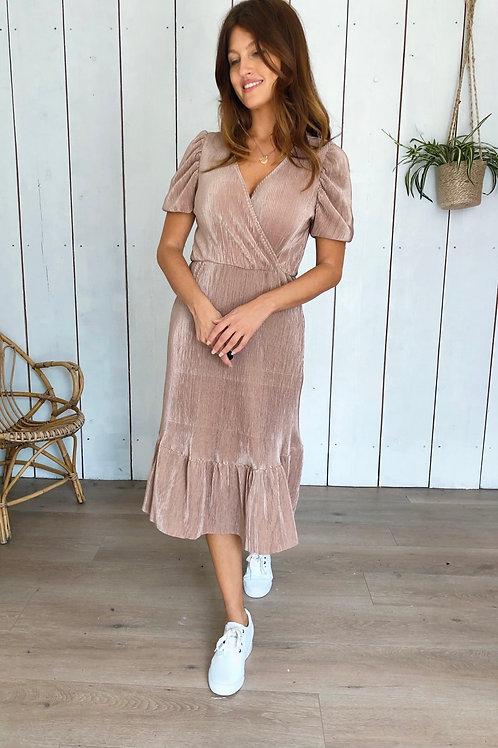 Pleated Wrap Front Midi Dress