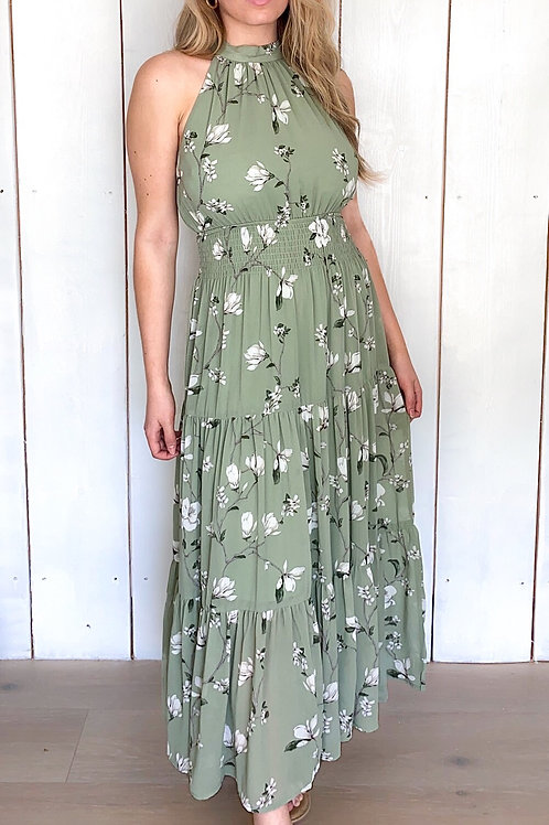 Floral Green Halter Neck Dress