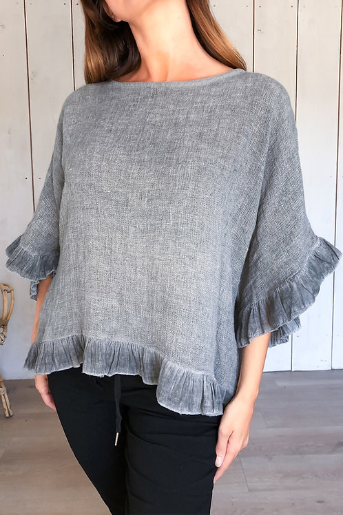 Linen Top With Frill Trim