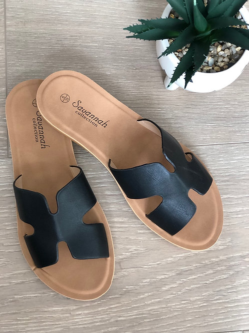 Black H Sandals
