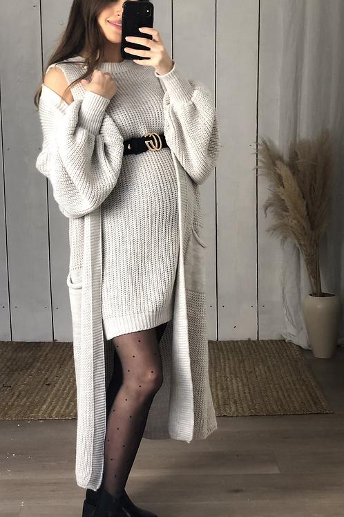 Chunky Knit Dress & Cardigan Set