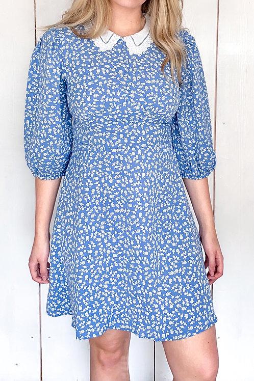 Cornflower Blue Collar Detail Tea Dress