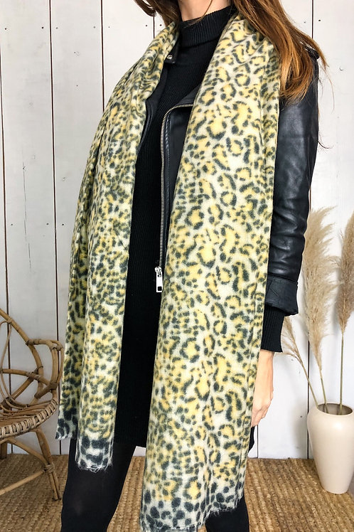 Yellow Leopard Print Supersoft Scarf With Raw Edge