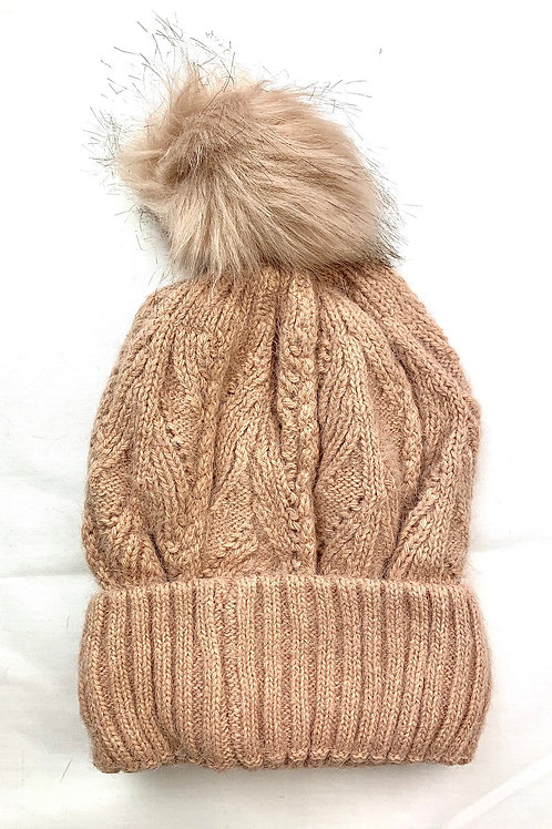 Pink Fluffy Knitted Bobble Hat