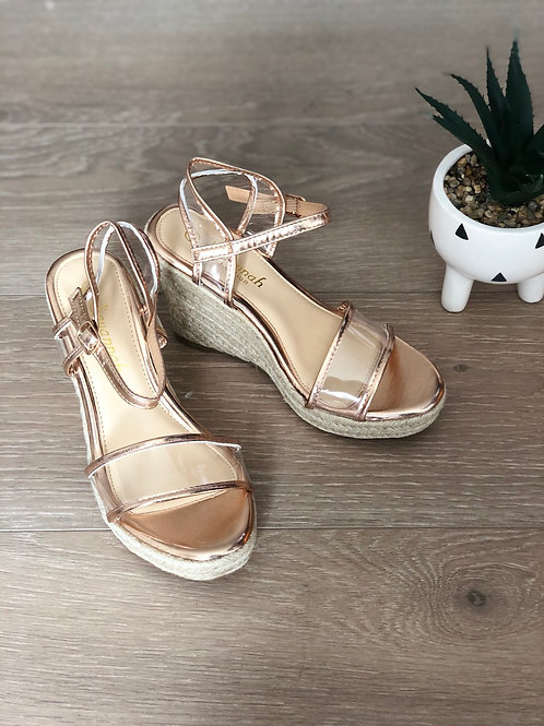 Rose Gold Clear Espadrille Wedges