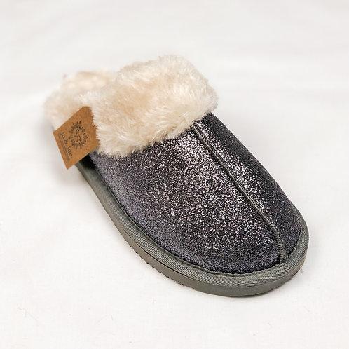 Dark Grey Glitter Mule Slippers