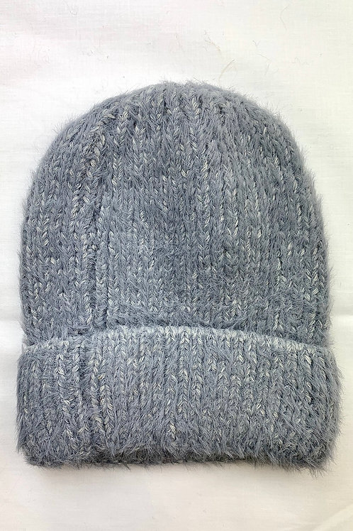 Grey Fluffy Knitted Beanie Hat