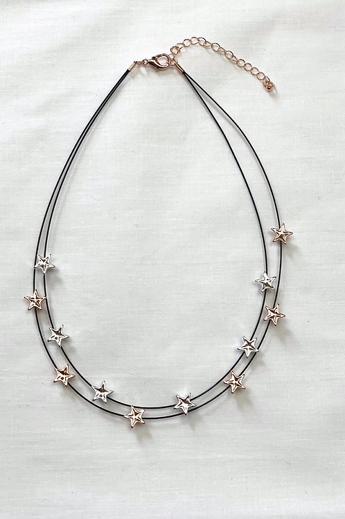 Rose Gold And Silver Star Spotted Necklace