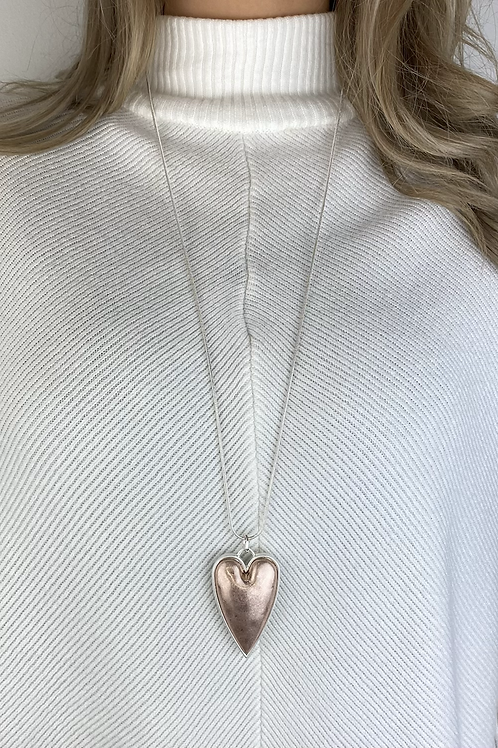 Narrow Pink Heart Necklace