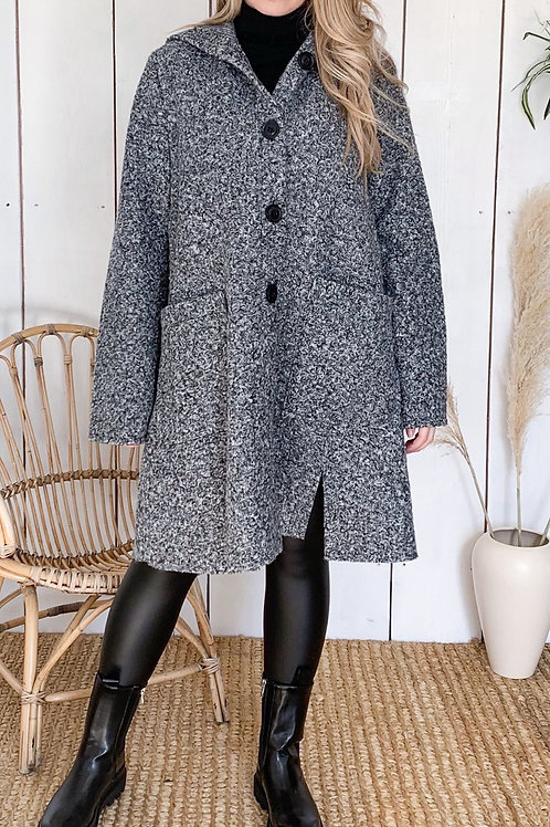 Button Down Teddy Coat With Hood