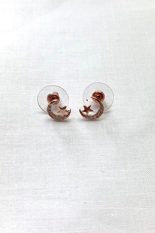 Rose Gold Moon & Star Earrings