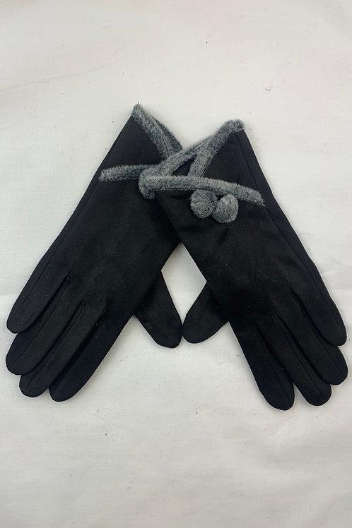 Black Bobble Button Gloves