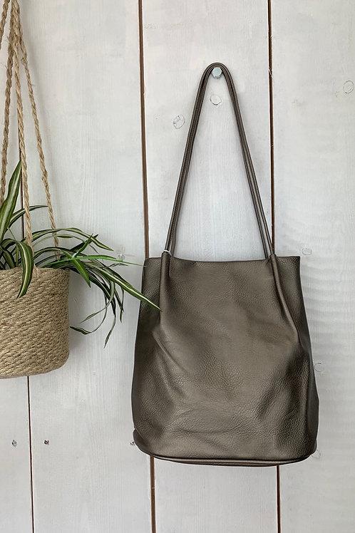Pewter Bucket Bag
