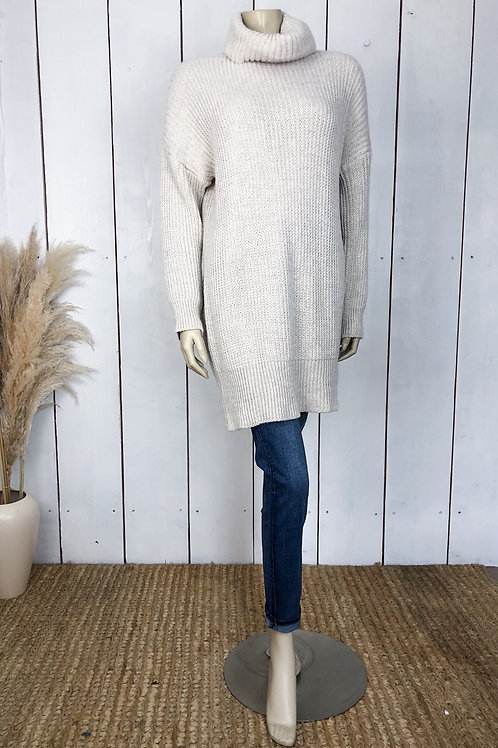 Oatmeal Chunky Knit Roll Neck Jumper Dress