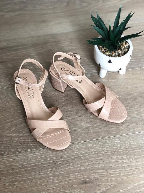 Nude Croc Patent Short Heels