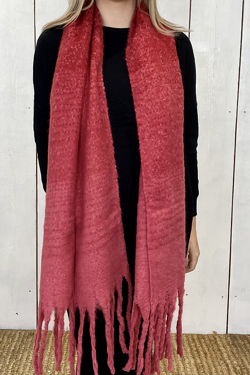 Chunky Red Soft Knitted Scarf