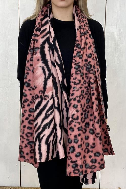 Animal Print Pink/Black Soft Scarf
