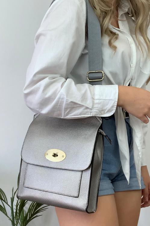 Silver Messenger Bag