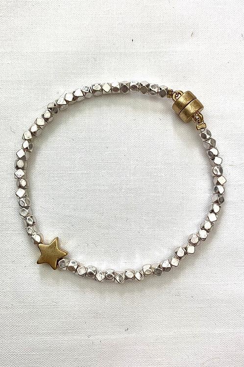Gold Star Silver Beaded Bracelet