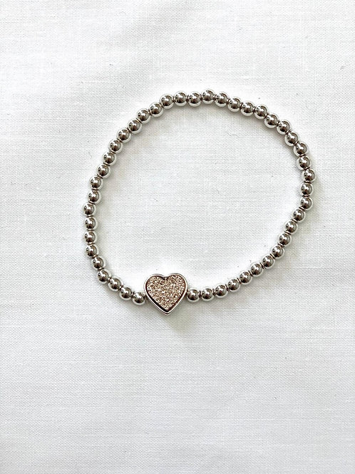 Rose Gold Glitter Heart Bracelet