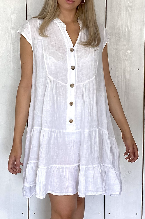 Button Down Tiered Linen Dress