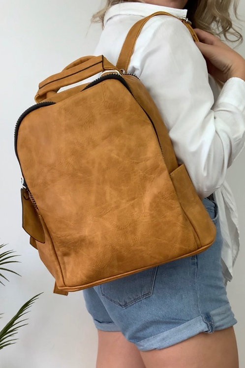 Mustard Dusted Leather Backpack