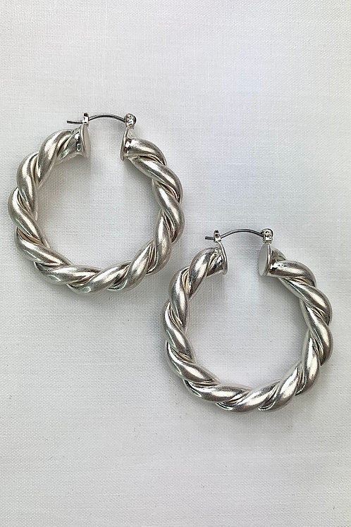 Silver Twisted Hoop