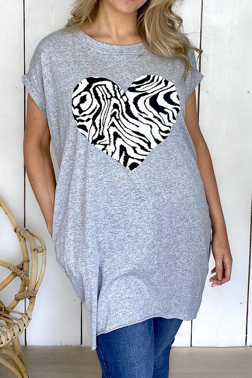 Oversized Zebra Heart T-Shirt