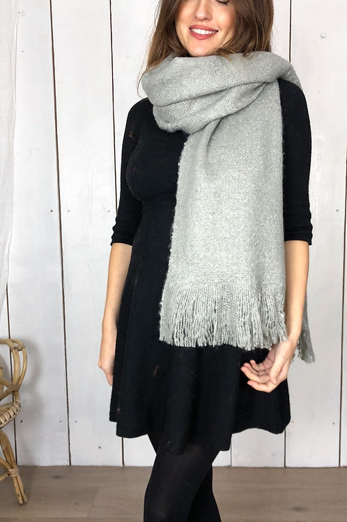 Chunky Grey Knitted Plain Scarf