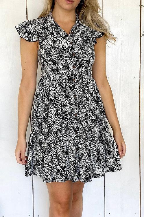 QED Button Through Frill Detail Dress