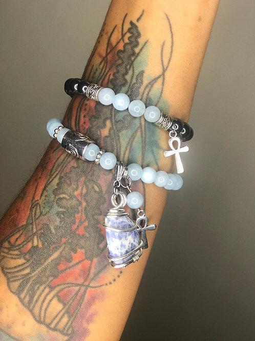 Blue Angelite x Hematite + Sodalite