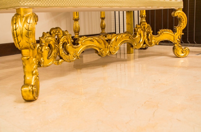 Lounge Chaise, Carved Gilded