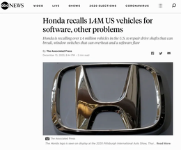 Another day, another 1+ million recalls from Honda!