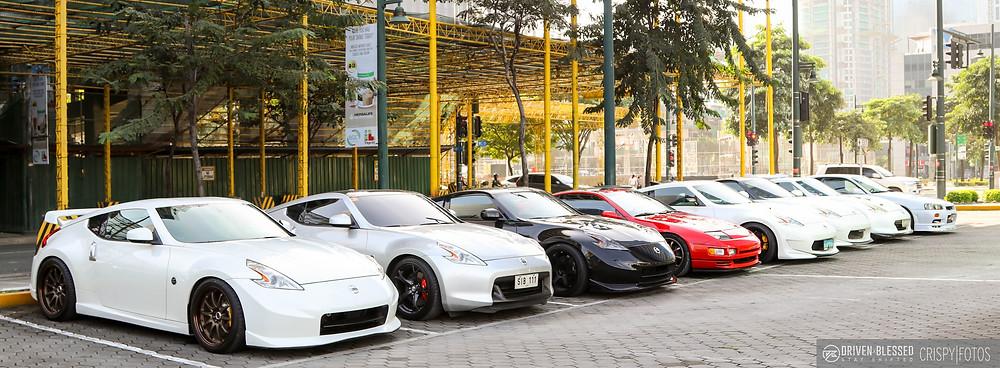 Full line up of Nissans (370Z NISMO, 300ZX, R34 GTR