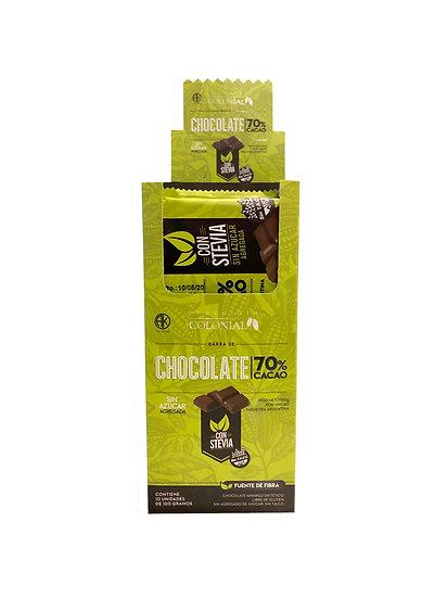 Chocolate - 70% cacao con Stevia x 10 u de 100 g