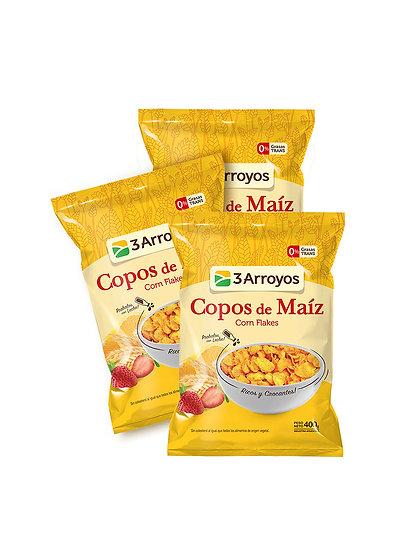 Cereales Copos de Maíz x 3 u de 400 g, 3 Arroyos