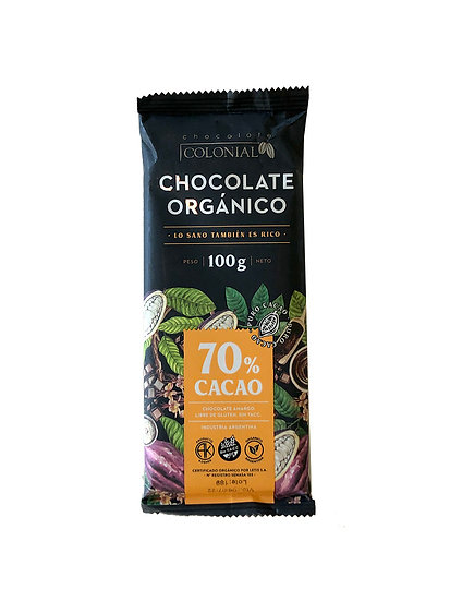 Chocolate Orgánico 70% Cacao Colonial, Tableta por 100g