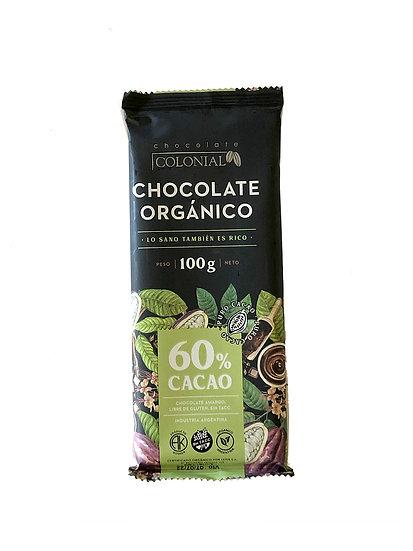 Chocolate Orgánico 60% Cacao Colonial, Tableta por 100g