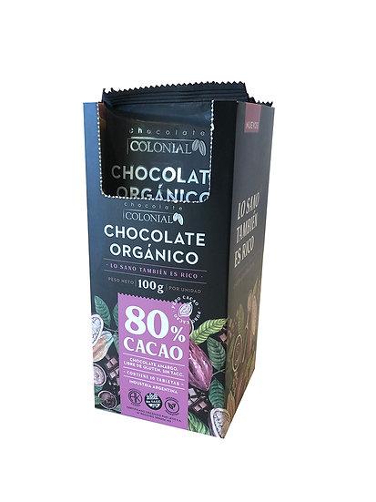 Chocolate Orgánico 80% Cacao Colonial, Caja Dispenser 10 u de 100g