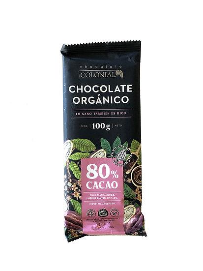 Chocolate Orgánico 80% Cacao Colonial, Tableta por 100g
