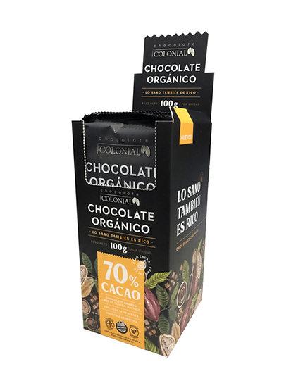 Chocolate Orgánico 70% Cacao Colonial, Caja Dispenser 10 u de 100g