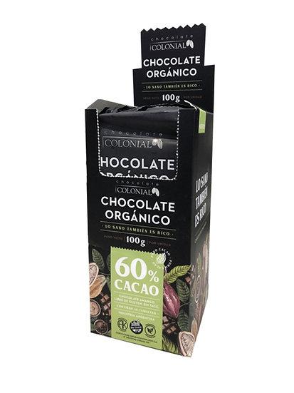 Chocolate Orgánico 60% Cacao Colonial, Caja Dispenser 10 u de 100g