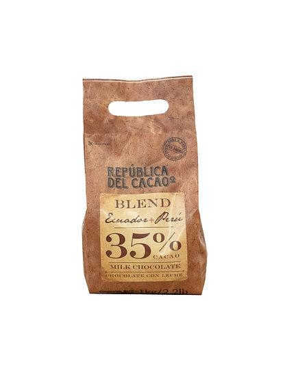Chocolate Cobertura Leche 35% Ecuador - Perú Rep. del Cacao x 1 kg