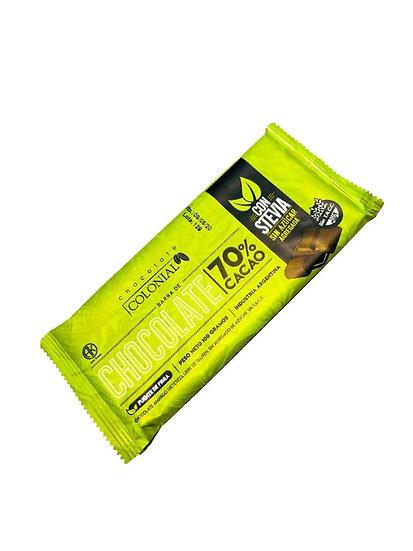 Chocolate - 70% cacao con Stevia x 1 u de 100 g