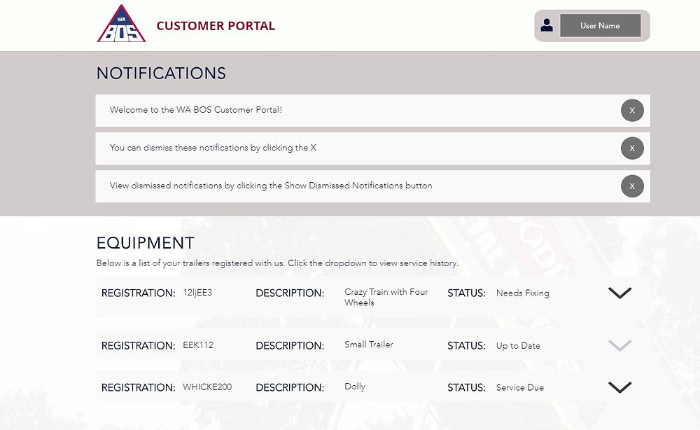 A screenshot of the new customer portal. Image shows a notifications section and an equipment listing with drop down buttons.