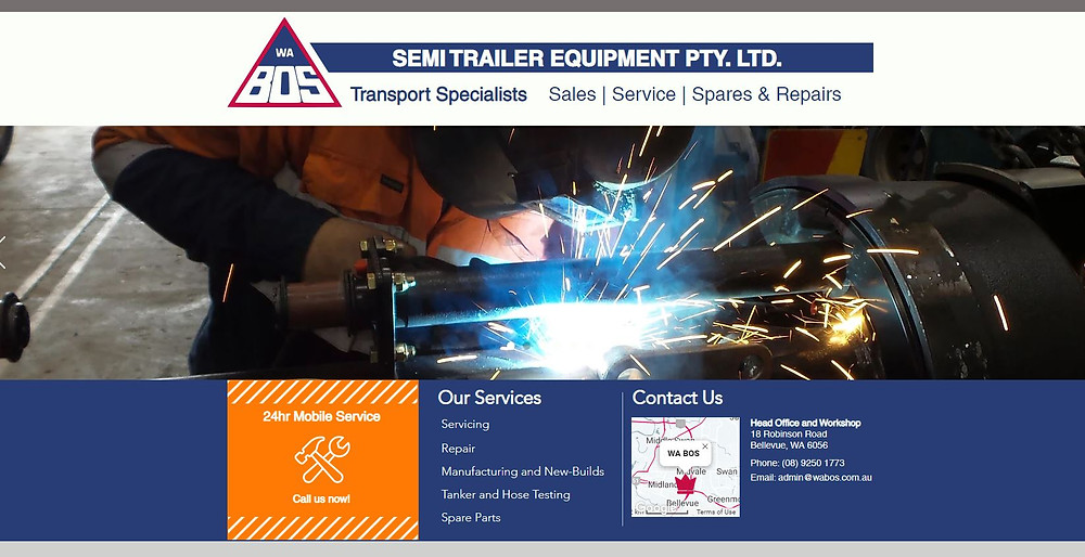 Image of the new WA BOS Homepage with a header and service listing. Background is an image of a person in high-visibility clothing welding an axle.