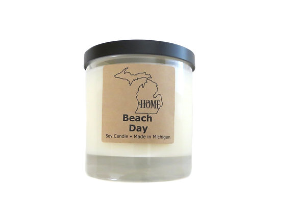 Beach Day, Beachy + Sea Salt Scent, Large Michigan HOME Soy Candle